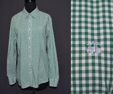 Brooks Brothers Green White Gingham Check Button Front Cotton Blouse 14