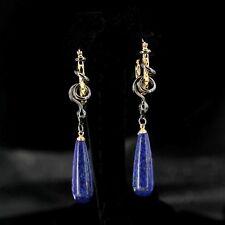 Boucle d'Oreilles Créole Plaqué Or Bleu Serpent Lapis Lazuli Goutte Pendant QD3