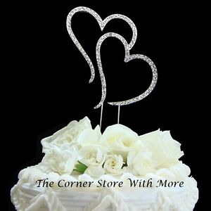 Silver Cake Topper Pick Wedding Centrepiece Double Hearts Anniversary Engage NEW