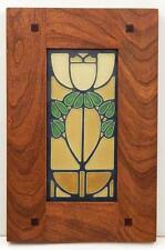 Framed Arts and Crafts Motawi 4x8 Bellflower Tile Morris Oak Frame E224