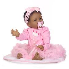22'' Reborn Baby Dolls Soft Body Girl Black Skin African American Newborn Baby