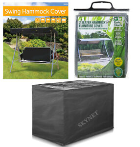 Heavy Duty 2 or 3 Seater Waterproof Swing Seat Hammock Cover Garden DARK GREY