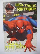 Fantástico colorido Pared Walker Hombre Araña Cumpleaños tarjeta de saludo & Insignia