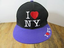 I LOVE N.Y. One Size Fits All Purple Black Embroidered Snapback Baseball Cap