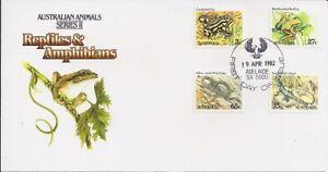 1982 Animals Series II - Reptiles & Amphibians FDC - FDI April Adelaide 5000 PMK