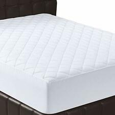 Bedding Quilted Fitted Mattress Pad Cover Stretches 16 Inches Queen Size White