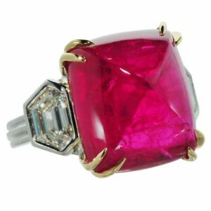 9 Ct Cabochon Ruby Synt Diamond Solitaire Statement Ring White Gold Finsh Silver