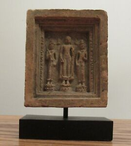 """Terracotta pottery votive plaque tablet standing Buddha 2.5x3"""" India?"""