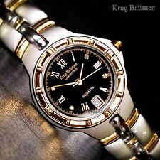 Krug Baumen Regatta Diamond Mens Two Tone 34mm Watch 4 Diamond Black Dial New