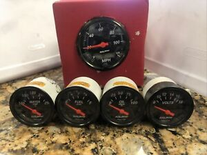 AutoMeter 3-1/8 Designer Black Gauge Set Electric Speedo Fuel Volts Oil Water