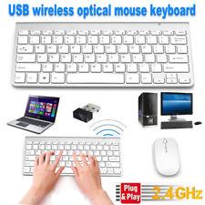 Wireless Keyboard and Cordless Mouse set 2.4G Silver Latptop Desktop Apple Mac