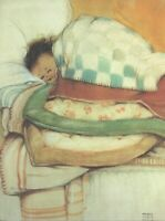 MABEL LUCIE ATTWELL CHARMING ORIGINAL BOOK PRINT 1990's Tucked up  safe in bed
