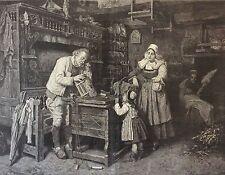 Horloger du village Henry Mosler gravure sur bois 1875