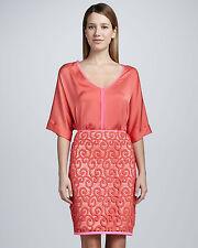Elie Tahari Bella Crushed Coral Scroll-Lace Pencil Skirt . NWT  Sz.6