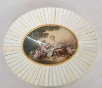 Glass Dome Oval Picture Frame W Celluloid, Ivory Color Tiles w Young Lovers