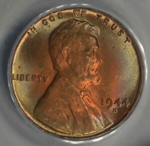 1944-D  .01  ANACS  MS 65 RB  Lincoln Head Cent, Lincoln One Cent