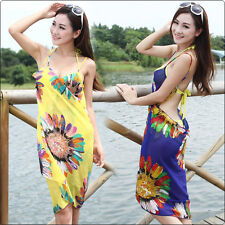 Women Sunflower Chiffon Travel Beach Dress Bikini Cover Up Swimwear Sarong Pareo