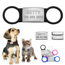 Pet Cat Dog ID Tags Personalized Engraved Name Tag Slide On Collar Tag for Puppy