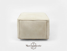 White Leather Pouf Otoman, Moroccan Leather Pouf, Leather Ottoman, Leather Chair