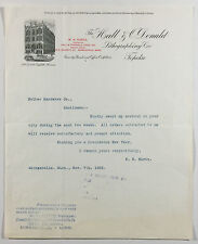 VTG Illustrated Letterhead, The Hall & O'Donald Lithographing Co. Topeka KS 1892