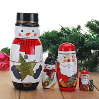 Wooden Christmas Russian Nesting Dolls Santa Snowman Xmas Tree Handcraft