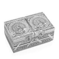 Aluminium Oxidized Peacock Embossed 2 Tier Jewelry Organizer Box Storage