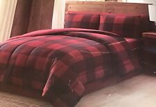 Remington 8 pc Full Comforter Bed Set ~ Maroon Red & Black Buffalo Plaid ~ New