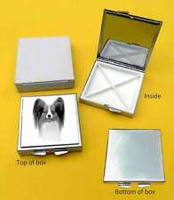 Papillon Dog Polished Metal Square Pill Box Gift