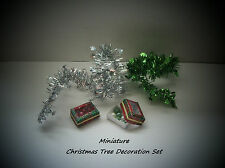 MINIATURE CHRISTMAS TREE BAUBLES AND TINSEL