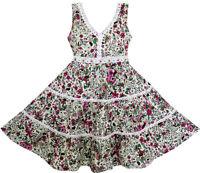 US STOCK Girls Dress V-Neck Lace Trim Flower Leaves Print Size 4-10