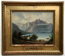 Tableau ancien signé Gavet, Huile sur panneau, Lac de Genève? Montagne, XIXe