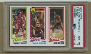 1980 Topps Basketball Rookie Magic Johnson Maurice Cheeks Ron Boone PSA 8 NM-MT