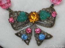 Pretty anni 1930 VINTAGE Strass Ceco filigrana e pastello Tagliare Il Vetro Collana Di Perline