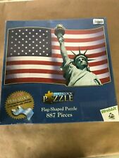 Puzzle U.S.A. Flag Shape & Statue of Liberty Perfalock 887 pieces Wrebbit NIB