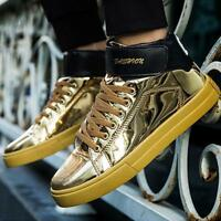 Men's Fashion Sneakers Bright High Top Large Size Trend Casual Sport Shoes Shiny