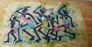 African Batik Wall Cloth Hanging Art Bright Colourful Batik