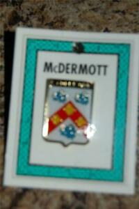 McDERMOTT Family PIN LAPEL Coat of Arms - Heraldic Crest - Clip Badge - Brooch