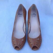 Shellys London Womens Tan Leather Shoes Size 5 UK 38 EU High Heel