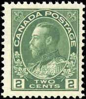 Mint NH 1923 Canada F+ Scott #107e 2c King George V Admiral Stamp