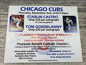 Starlin Castro Chicago Cubs AUTOGRAPH Signed Poster Board