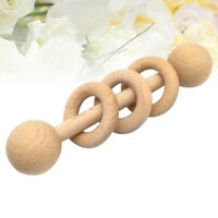 Baby Wooden Rattle Baby Teething Ring Toy Molar Teether Ring Playing Rattle Toy
