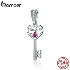 Bamoer .925 Sterling Silver charm & CZ Happiness Key Dangle Fit Bracelet Jewelry