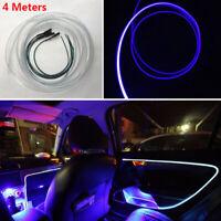 4 Merer Car Interior LED Ambient Lights Atmosphere Optical Fiber Door Strip Lamp
