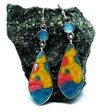 Long Drop Dangle Earrings 925 Silver Plated Gorgeous Enamel Detail Colorful New