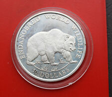 "Cook Islands: 50 Dollars 1990 Silber, KM# 52, PP-Proof, #F 1207, ""Grey Bear"""