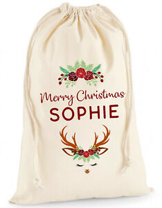 Personalised Christmas Sack Santa Stocking Present Bag Xmas Girls Gift