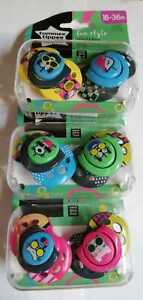 3X  Tommee Tippee Fun style soothers 18-36 months yellow/ pink/ blue animals