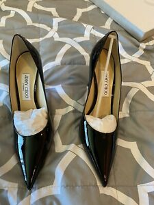 Jimmy Choo Love 85 mm Black Patent Leather Pointed Toe Pumps Size 9.5US / 39.5EU