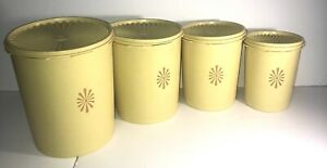 TUPPERWARE Set of 4 Vintage 1970's  Yellow Tupperware Kitchen Canisters w/lids
