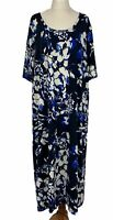 Maggie T Womens Black/Blue Floral Short Sleeve Dress Size 2 (20-22)